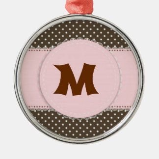Pink Polka Dot Manogram Silver-Colored Round Decoration