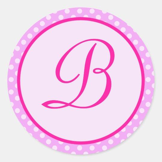 Pink Polka Dot Monogram Initial Sticker