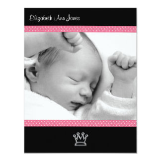 Pink Polka Dot on Black Baby Girl Announements 11 Cm X 14 Cm Invitation Card