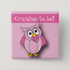 Pink Polka Dot Owl | Baby Shower Theme 15 Cm Square Badge