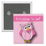 Pink Polka Dot Owl | Baby Shower Theme 15 Cm Square Badge