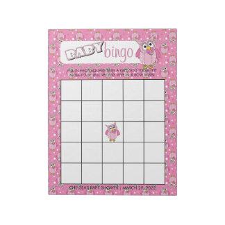 Pink Polka Dot Owl Baby Shower Theme Bingo Game Notepad