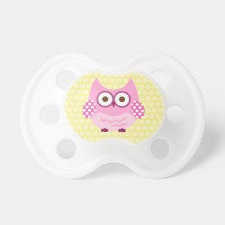 Pink Polka Dot Owl Pacifier