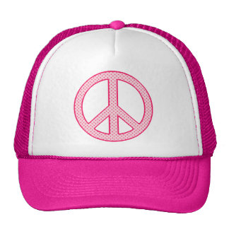 Pink Polka Dot Peace Trucker Hat