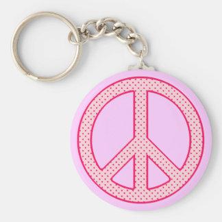 Pink Polka Dot Peace Key Ring