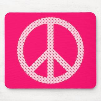 Pink Polka Dot Peace Mouse Mat