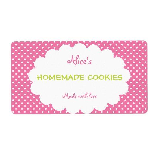 Pink Polka Dot Personalised Homemade Cookies
