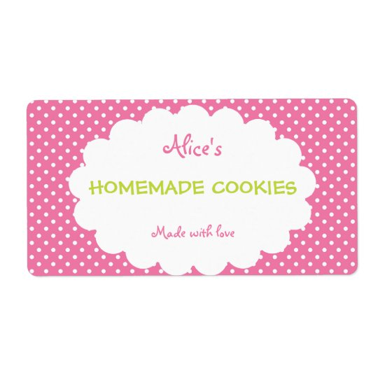 Pink Polka Dot Personalised Homemade Cookies Shipping Label