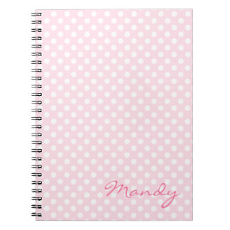 Pink polka dot personalised notebook