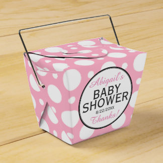 Pink Polka Dot Personalised Shower Favour Boxes