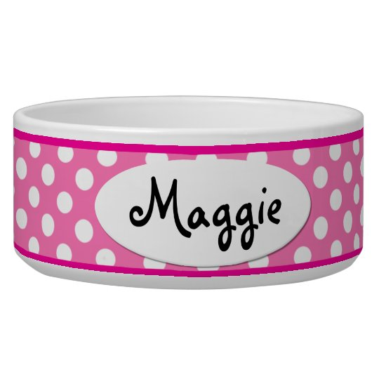 Pink Polka Dot Personalised Small Dog Bowl