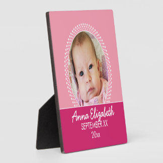 Pink Polka Dot Photo Frame Baby Girl Plaques