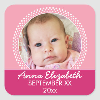 Pink Polka Dot Photo Frame Baby Girl Square Sticker