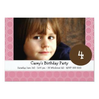 Pink Polka Dot Photo Invitaion (#INV 020) 13 Cm X 18 Cm Invitation Card