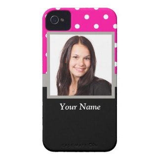 Pink Polka dot photo template iPhone 4 Cover
