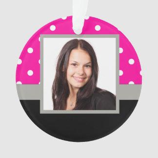 Pink Polka dot photo template Ornament