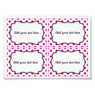 Pink polka dot printable labels photo print