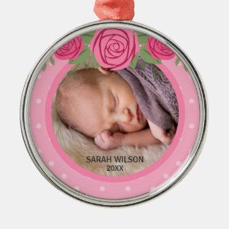 Pink Polka Dot Roses Baby's First Christmas Photo Christmas Ornament