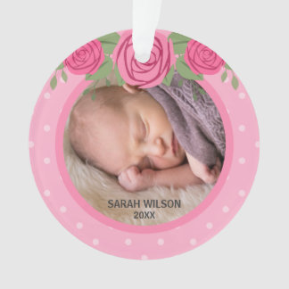 Pink Polka Dot Roses Baby's First Christmas Photo Ornament