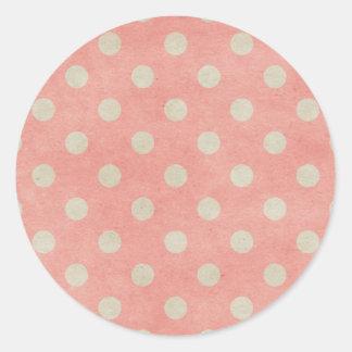 Pink Polka Dot Round Sticker