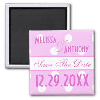 Pink Polka Dot Save The Date Magnet