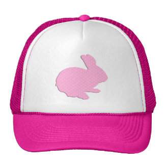 Pink Polka Dot Silhouette Easter Bunny Hat