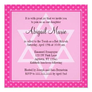 Pink Polka Dot Star of David Bat Mitzvah Square 13 Cm X 13 Cm Square Invitation Card
