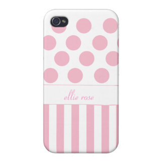 Pink Polka Dot Striped iPhone Case Covers For iPhone 4