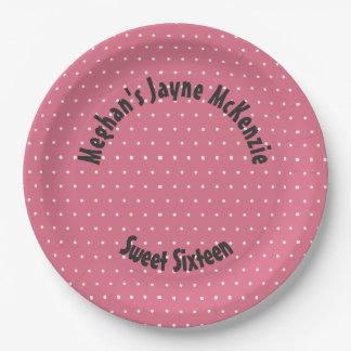 Pink Polka Dot Sweet 16 Paper Plate