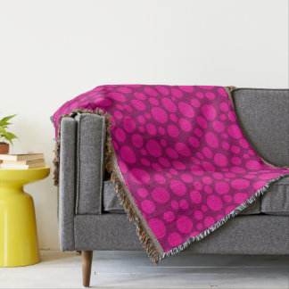 Pink polka dot throw blanket