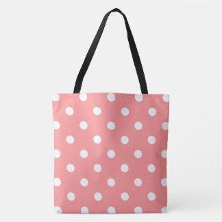 Pink Polka Dot Tote Bag