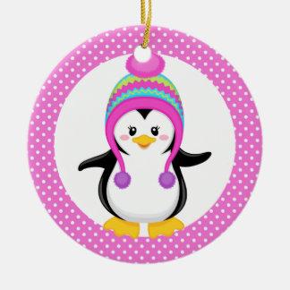 Pink Polka Dot Winter Penguin Girl Christmas Ornament