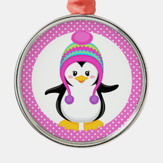 Pink Polka Dot Winter Penguin Girl Silver-Colored Round Decoration