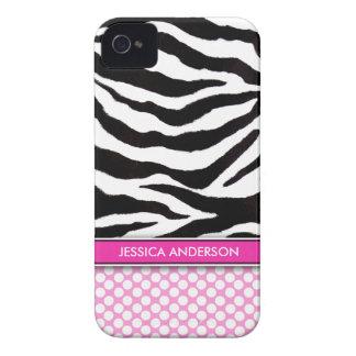Pink Polka Dot Zebra Stripe iPhone 4 Case-Mate Case-Mate iPhone 4 Case