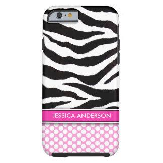 Pink Polka Dot Zebra Stripe iPhone 6 Tough iPhone 6 Case