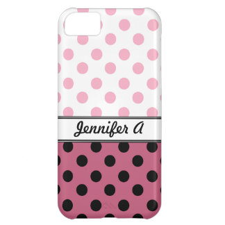 Pink Polka Dots and Black iPhone 5 Case