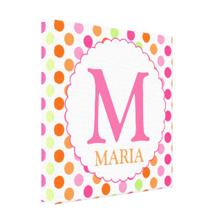 Pink Polka Dots and Initial Wall Decor Canvas Print