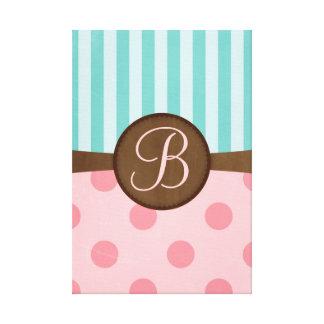 Pink polka dots and teal stripes | monogram canvas print