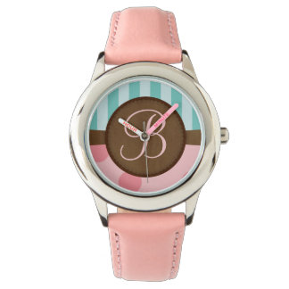 Pink polka dots and teal stripes | monogram watches