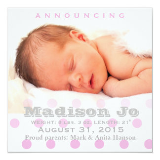 Pink polka dots baby announcement