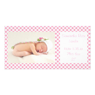 Pink Polka Dots Baby Announcements Card