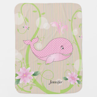 Pink Polka Dots Baby Whale Swaddle Blanket