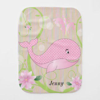 Pink Polka Dots Baby Whale Baby Burp Cloths