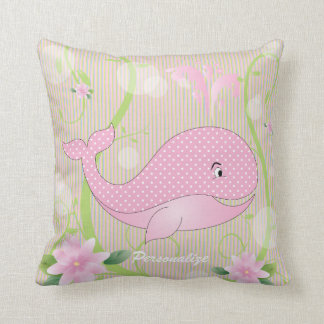Pink Polka Dots Baby Whale Pillows