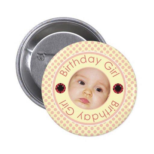 Pink Polka Dots Birthday Girl Photo Pinback Button