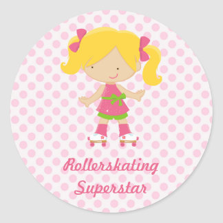 Pink Polka Dots Blonde Rollerskating Superstar Sti Classic Round Sticker