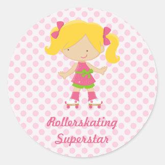 Pink Polka Dots Blonde Rollerskating Superstar Sti Round Sticker