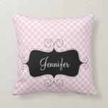 Pink Polka Dots Chic Girly Personalised Pillow Cushions