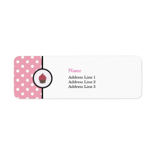 Pink Polka dots Cupcakes Cute Bakery Address Label
