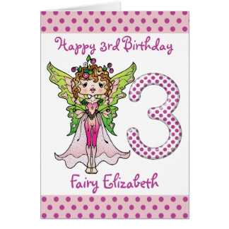 Pink Polka Dots Fairy Princess 3rd Birthday Greeting Card
